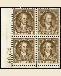 #704 - 1/2¢ Washington: Plate Block