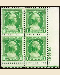 #705 - 1¢ Washington: Plate Block