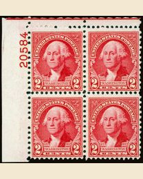 #707 - 2¢ Washington: Plate Block