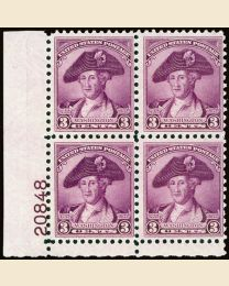 #708 - 3¢ Washington: Plate Block