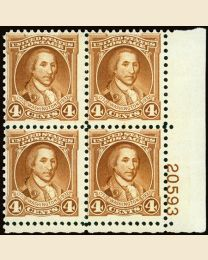 #709 - 4¢ Washington: Plate Block