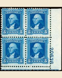 #710 - 5¢ Washington: Plate Block