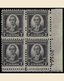 #712 - 7¢ Washington: Plate Block