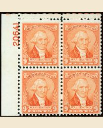 #714 - 9¢ Washington: Plate Block