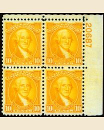#715 - 10¢ Washington: Plate Block