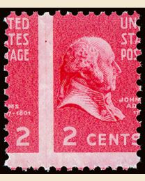 US # 806 2¢ John Adams Misperf