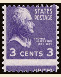US #807 3¢ Thomas Jefferson Error