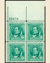# 859 - 1¢ W. Irving: plate block