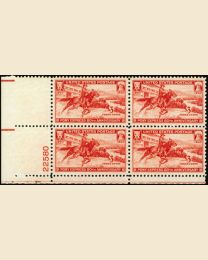 # 894 - 3¢ Pony Express: plate block