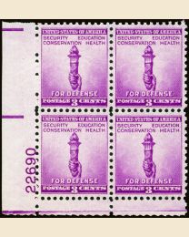 # 901 - 3¢ Torch: plate block