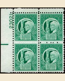 # 908 - 1¢ Four Freedoms: plate block
