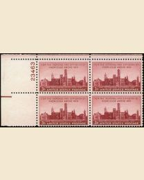 # 943 - 3¢ Smithsonian: plate block