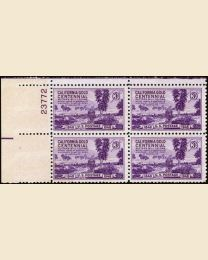 # 954 - 3¢ Calif. Gold Rush: plate block