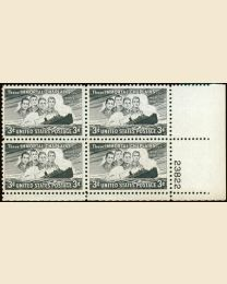 # 956 - 3¢ Four Chaplains: plate block