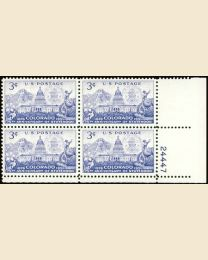 #1001 - 3¢ Colorado: plate block