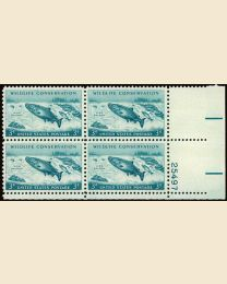 #1079 - 3¢ King Salmon: plate block