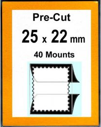 Pre-cut Mounts  25 x 22 mm  (stamp w x h)