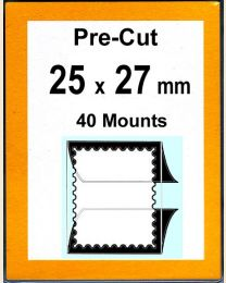 Pre-cut Mounts  25 x 27 mm  (stamp w x h)