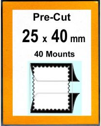 Pre-cut Mounts  25 x 40 mm  (stamp w x h)