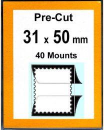 Pre-cut Mounts  31 x 50 mm  (stamp w x h)