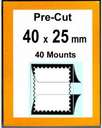 Pre-cut Mounts  40 x 25 mm  (stamp w x h)