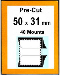 Pre-cut Mounts  50 x 31 mm  (stamp w x h)