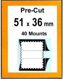Pre-cut Mounts  51 x 36 mm  (stamp w x h)