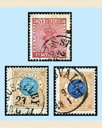 1858-1878 Trio of Sweden High Values