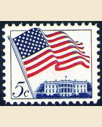 #1208 - 5¢ Flag, White House