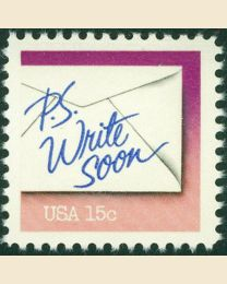 #1806 - 15¢ Write Soon purple