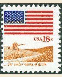 #1890 - 18¢ Flag & Waves of Grain