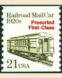 #2265 - 21¢ R.R. Mail Car precancelled