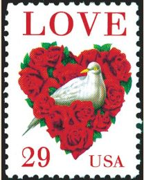 #2814C - 29¢ Love: Dove and Roses from sheet