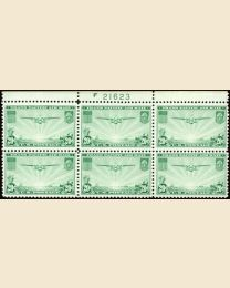 #C21 - 20¢ China Clipper: Plate Block