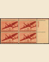 #C28 - 15¢ Transport: Plate Block