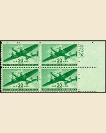 #C29 - 20¢ Transport: Plate Block