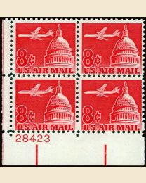 #C64 - 8¢ Jet over Capitol: Plate Block