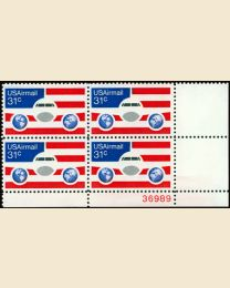 #C90 - 31¢ Plane, Globes & Flags: Plate Block