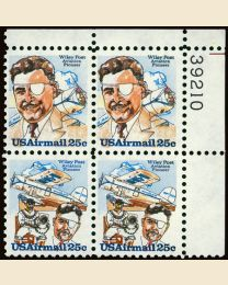 #C95S- 25¢ Wiley Post: Plate Block