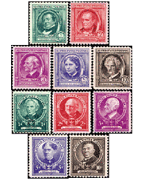 1940 Famous Americans Set of 35 Stamps
