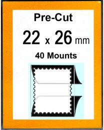 Pre-cut Mounts  22 x 26 mm  (stamp w x h)