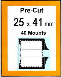 Pre-cut Mounts  25 x 41 mm  (stamp w x h)