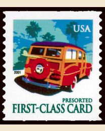 "#3522 - Presort card ""Woody"" wagon (15¢)"
