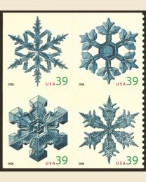 #4105S- 39¢ Snowflakes - USA even with date