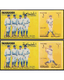 Single commemorative sheet that changes images between Babe Ruth and Lou Gehrig when tilted