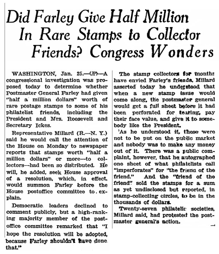 Newspaper clipping from January 26, 1935