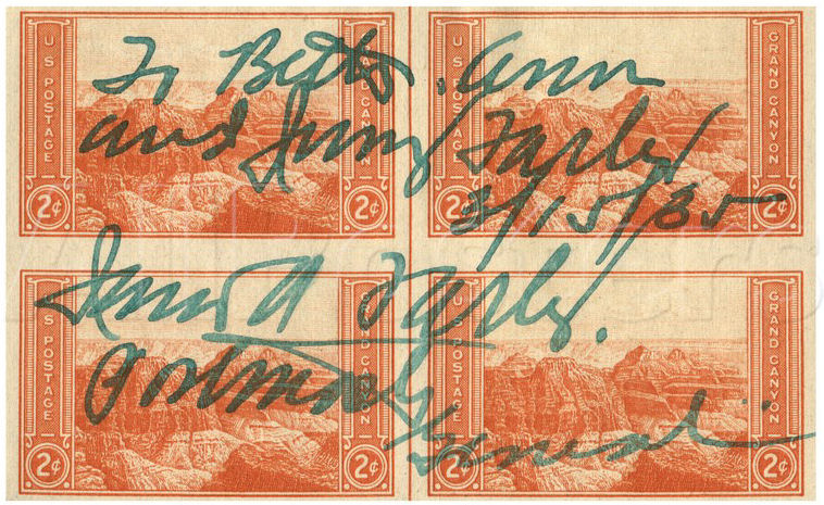 A block of stamps signed by Farley