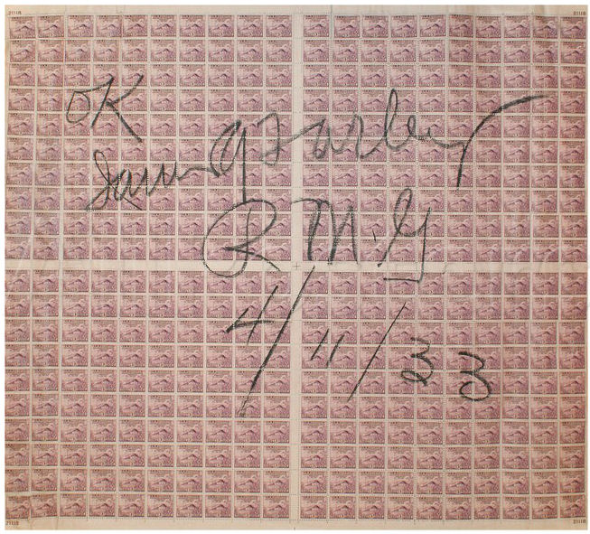 A sheet of stamps signed by Farley
